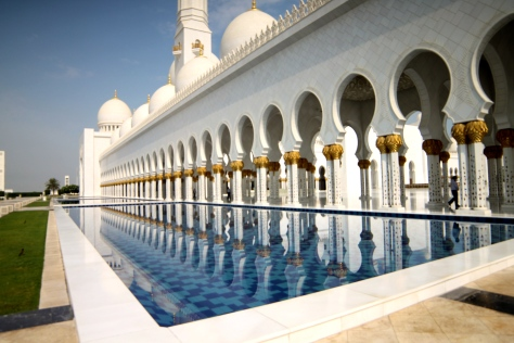 One of the reflecting pools at the Sheikh Zayed Grand Mosque.