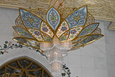 A side view of one of the smallest chandeliers.