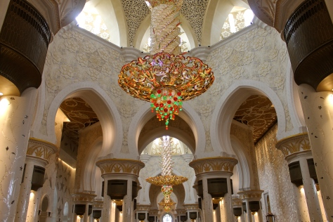 The inner prayer hall of the Sheikh Zayed Grand Mosque, which can hold up to seven thousand worshipers.