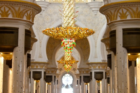 Chandeliers in the prayer hall. I feel bad for the guy who has to clean these things.