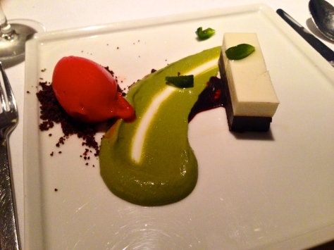 This is one of the desserts that made Mikla so famous: chocolate and buffalo yoghurt mousse, Antep pistachio cream, fresh strawberry sorbet, and a sour plum reduction.