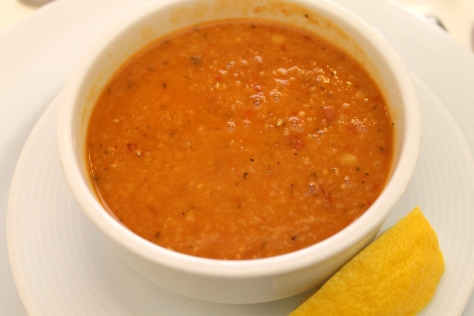 Ezogelin çorbası - red lentil and bulgur soup with red chili and mint. The chili added a kick, and the mint provided a cool complement. A squeeze of fresh lemon added a citrusy twist.