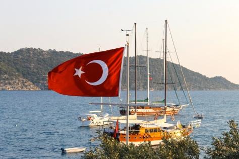 The Turkish flag flies above Kaleköy.